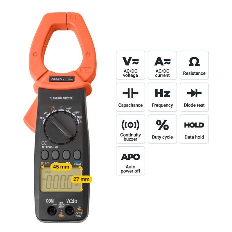 Струмовимірювальні кліщі Accta AT-1000A Зображення 8