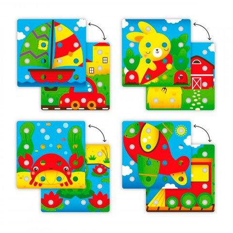 Набор для занятий мозаикой Quercetti большие фишки (16 шт.) + карточки, основы Превью 3